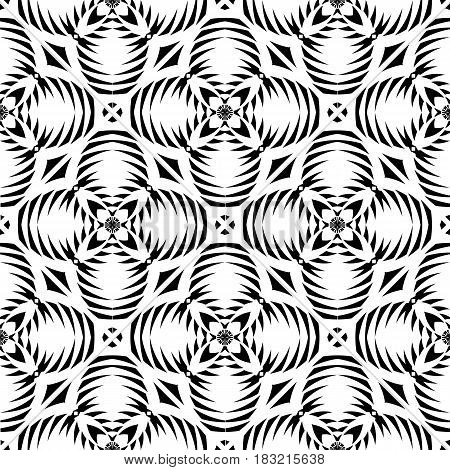 Vector seamless texture. Tribal geometric pattern. Black and white ornamental background