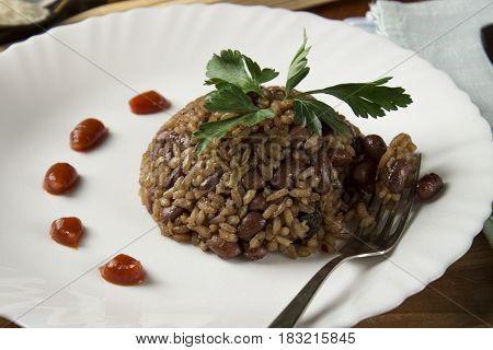 Congri dish of Cuban national, traditional cuisine