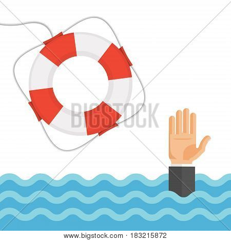 Helping to survive business concept. Drowning man's hand in sea or ocean and lifebuoy. Flat style vector illustration.