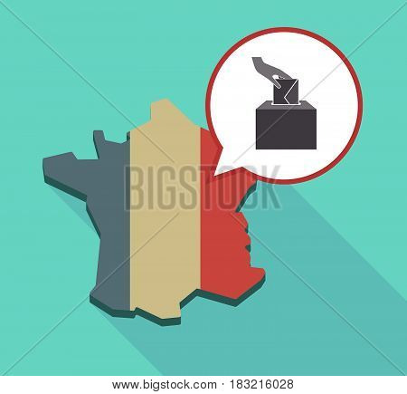 Long Shadow France Map With  A Hand Inserting An Envelope In A Ballot Box