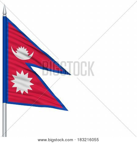 Nepal Flag on Flagpole , Flying in the Wind, Isolated on White Background