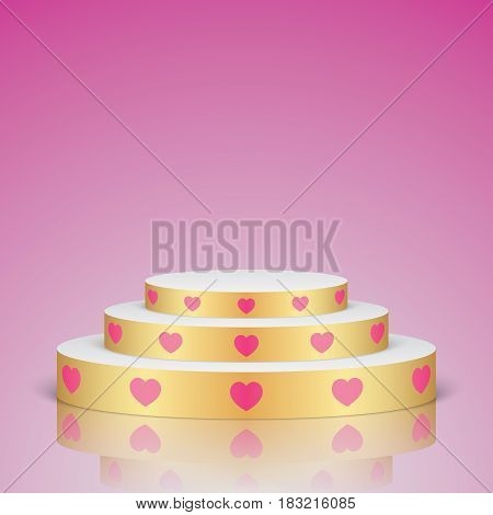 Golden vector stage with white stairs and pink hearts, isolated on a pink background. Oval romantic scene for your valentines day design decoration.