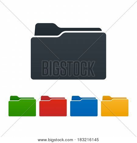 Closed flat folders on white background. Colorful isolated icons. Vector illustration.