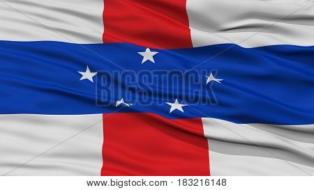 Closeup Netherlands Antilles Flag, Waving in the Wind, High Resolution