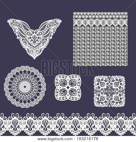 Vector set of decorative lace elements for design and fashion in ethnic indian style. Neckline, seamless, border and patterns. Flowers and leaves ornaments