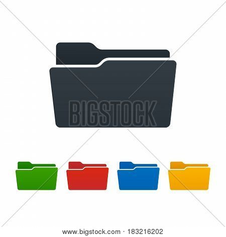 Open flat folders on white background. Colorful isolated icons. Vector illustration.