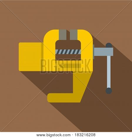 Yrllow vise tool icon. Flat illustration of yrllow vise tool vector icon for web on coffee background