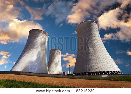 Evening colored view of cooling tower - Nuclear power plant