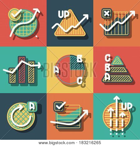 Set of colorful infographics elements and diagrams, circle charts, arrows. Flat icons with shadows for business. Vector paper style illustration.