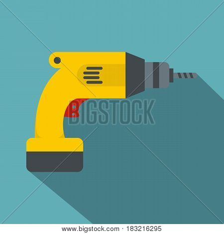 Yellow drill icon. Flat illustration of yellow drill vector icon for web on baby blue background
