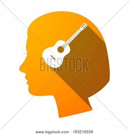 Isolated Female Head With  A Six String Acoustic Guitar