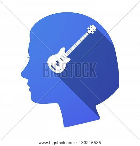 Isolated Female Head With  A Four String Electric Bass Guitar