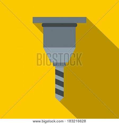 Drill bit icon. Flat illustration of drill bit vector icon for web on yellow background