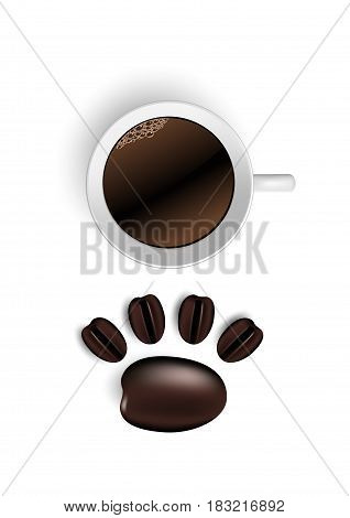 Cup of coffee and beans on white. Vector