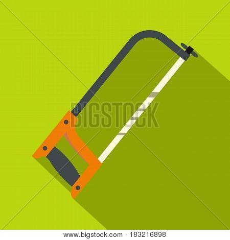 Hacksaw with orange handle icon. Flat illustration of hacksaw with orange handle vector icon for web on lime background
