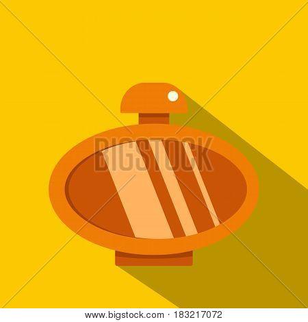 Orange parfume bottle icon. Flat illustration of orange parfume bottle vector icon for web on yellow background