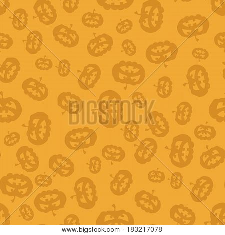 Halloween Silhouette of Cartoon Pumpkin Seamless Pattern on Orange Background