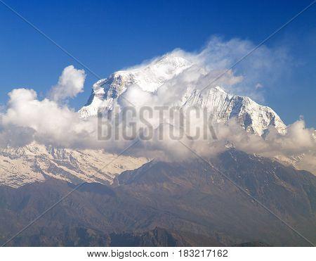 Dhaulagiri. Morning view of Mount Dhaulagiri from Poon Hill view point round Annapurna circuit trekking trail Nepal
