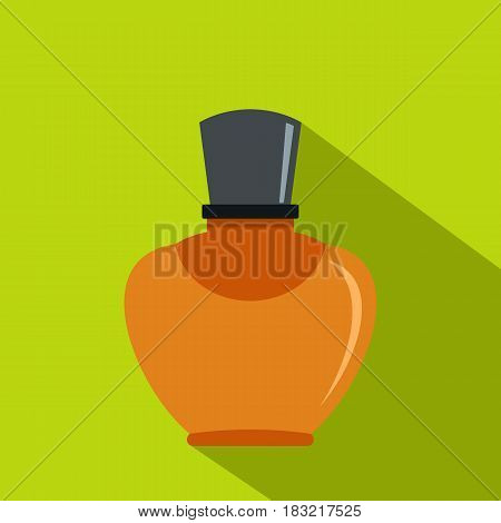Glass bottle with perfume icon. Flat illustration of glass bottle with perfume vector icon for web on lime background