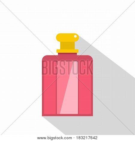 Pink bottle of female perfume icon. Flat illustration of pink bottle of female perfume vector icon for web on white background