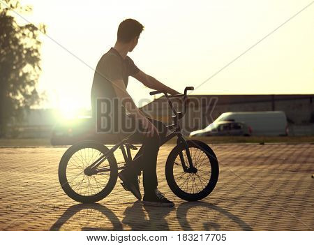 teenager Cycling on a bicycle outdoors