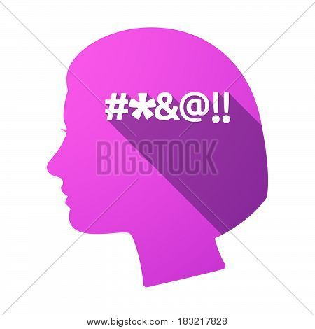 Isolated Female Head With  A Cursing Tex