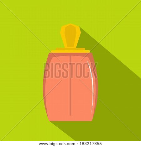 Elegant woman perfume bottle icon. Flat illustration of elegant woman perfume bottle vector icon for web on lime background