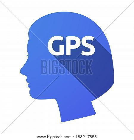 Isolated Female Head With  The Global Positioning System Acronym Gps