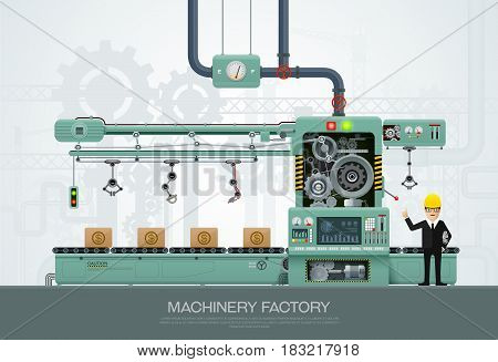 machine and manufacturevector engineering vector illustration with engineer character