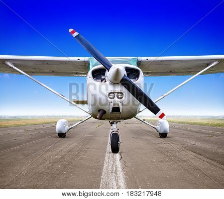 sports plane is waiting for take off