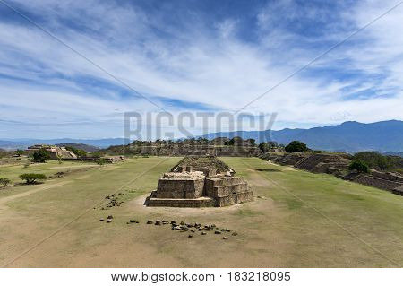 View of the Monte Alban ruins in Oaxaca Mexico