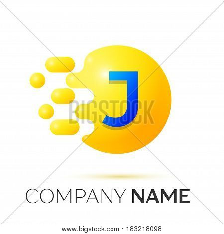 J Letter splash logo. Yellow dots and circle bubble letter design on grey background. Vector Illustration