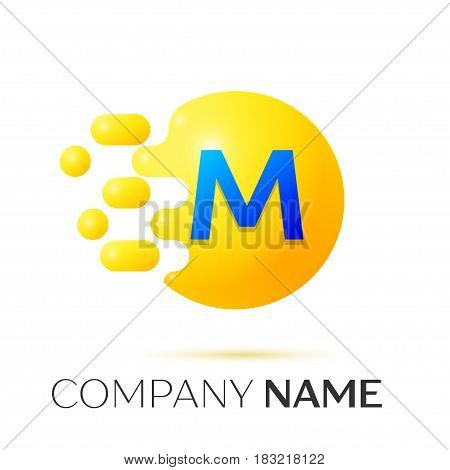 M Letter splash logo. Yellow dots and circle bubble letter design on grey background. Vector Illustration
