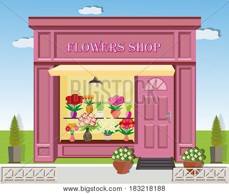 Flowers shop facade. Colorful cute front of flowers store. Modern landscape with flower shop icon, fence, flowers and spruces. Flat style vector illustration.