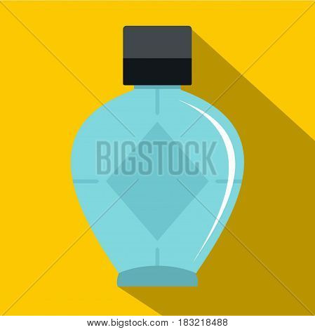 Light blue bottle of female perfume icon. Flat illustration of light blue bottle of female perfume vector icon for web on yellow background