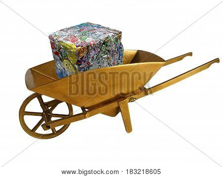 Extruded aluminum waste in golden wheelbarrow are ready for recycling