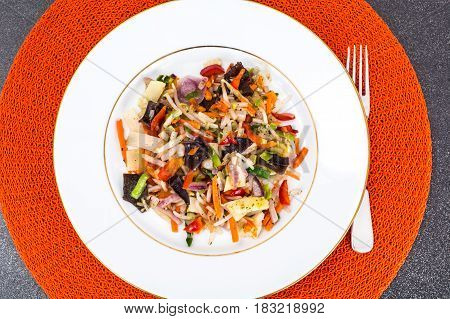 Stewed vegetables with mushrooms mun, soybean sprouts and bamboo shoots. Studio Photo