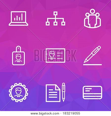 Trade Outline Icons Set. Collection Of Team, Bank Card, Identification And Other Elements. Also Includes Symbols Such As Badge, Bank, Document.