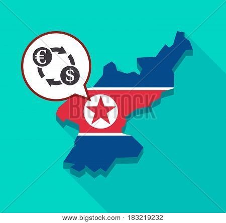 North Korea Map With  An Euro Dollar Exchange Sign