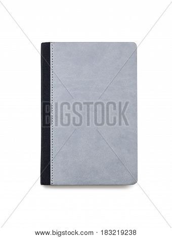 Little gray closed book isolated with stitched black cover with rounded corners