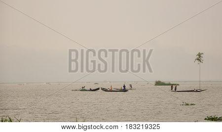 Wooden Boats On Inle Lake In Myanmar