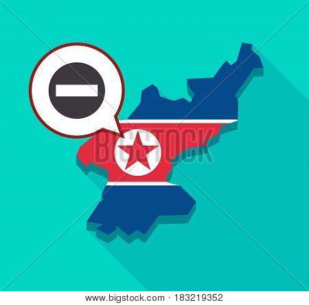 North Korea Map With  A No Trespassing Signal