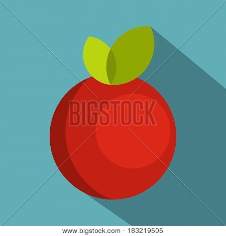 Red round apple with leaves icon. Flat illustration of red round apple with leaves vector icon for web on baby blue background