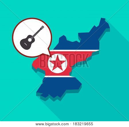 North Korea Map With  A Six String Acoustic Guitar