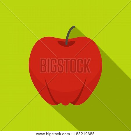 Red ripe apple icon. Flat illustration of red ripe apple vector icon for web on lime background