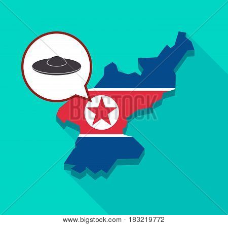 North Korea Map With  A Flying Saucer Ufo