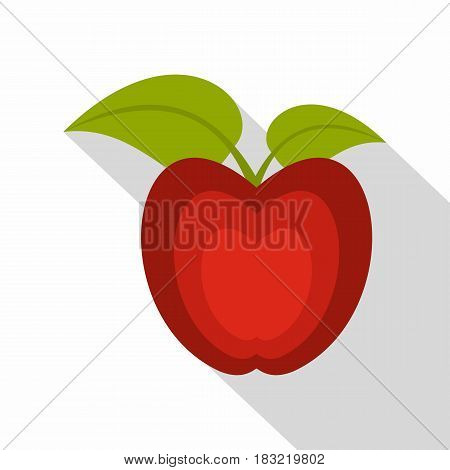 Red apple with green leaves icon. Flat illustration of red apple with green leaves vector icon for web on white background