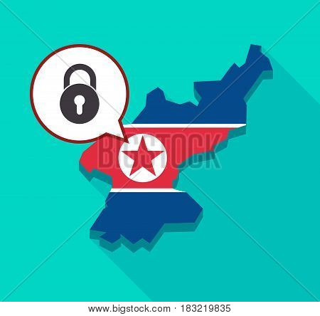 North Korea Map With  A Closed Lock Pad