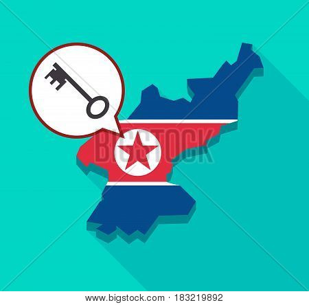 North Korea Map With  A Vintage Key