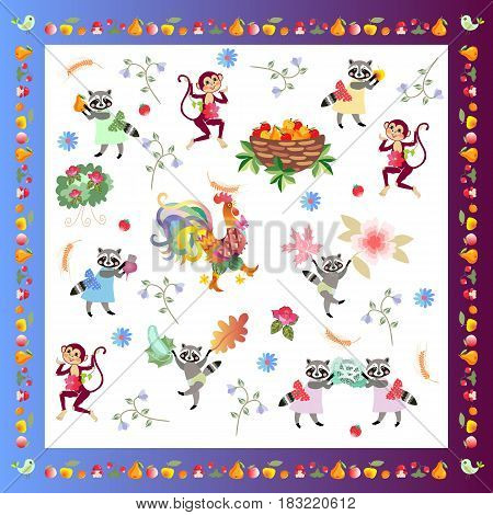Napkin, handkerchief or pillowcase for baby with cute cartoon characters and unusual frame from fruits. Rooster, monkeys and funny raccoons on white background. Harvesting.